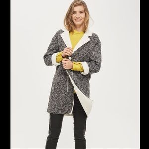 Topshop Salt And Popper Knit Bonded Borg Coat